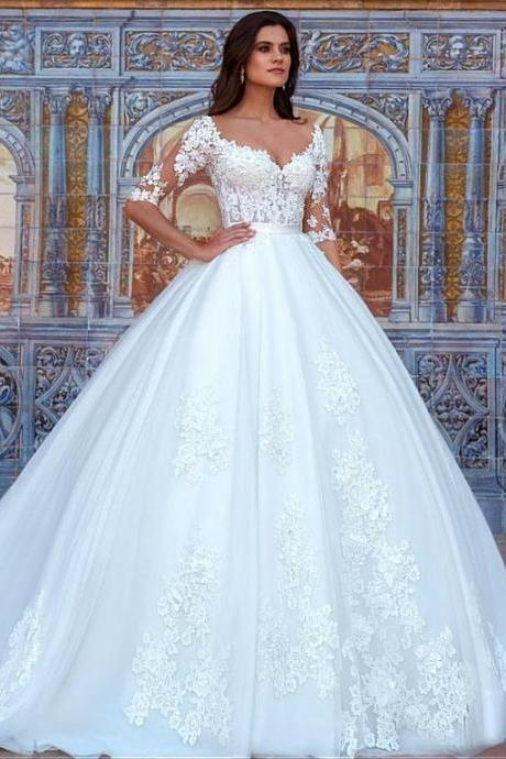 Half Sleeves Wedding Dress with Lace Detailing 2018